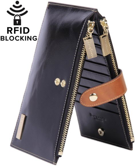 7ed13bcaa17 Borgasets RFID Blocking Women s Genuine Leather Zipper Credit Card Wallet