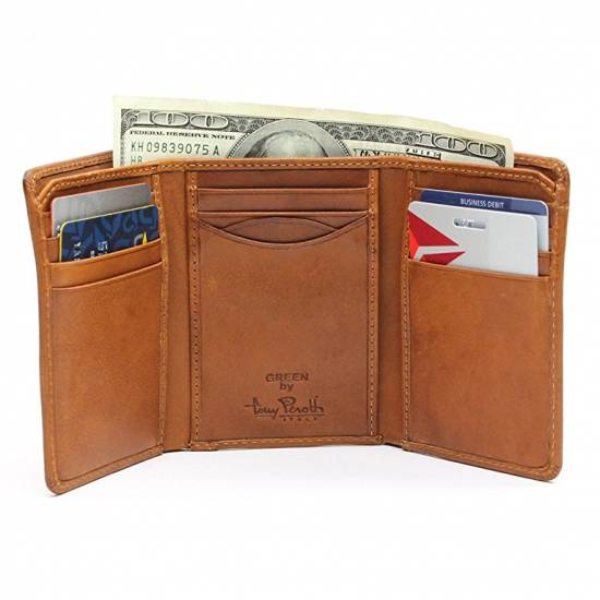 b545cf18d0e9 14) Tony Perotti Mens Italian Cow Leather Classic Trifold Wallet with ID  Window