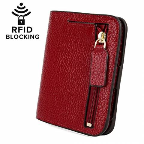 18) YALUXE Women s RFID Blocking Small Compact Leather Wallet Ladies Mini  Purse with ID Window 078e235dad