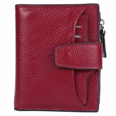33) AINIMOER Women's RFID Blocking Leather Small Compact Bi-fold Zipper Pocket Wallet Card Case Purse with id Window