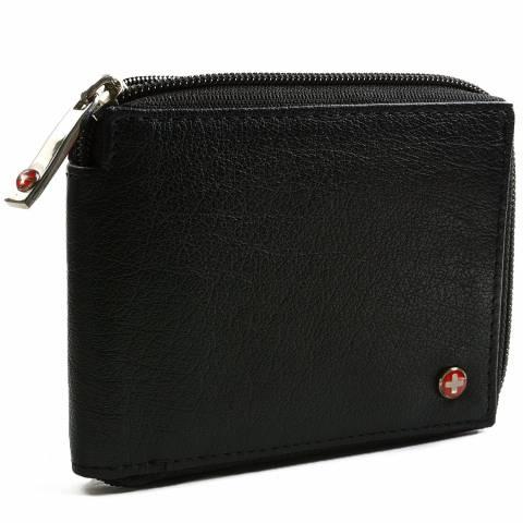 63ce36a9e0f Alpine Swiss RFID Blocking Mens Leather Wallet Zip Around ID Card Window  Bifold