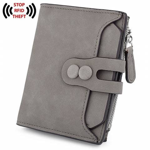 31) UTO Women's RFID Blocking PU Matte Leather Wallet Card Holder Organizer Girls Coin Purse with Snap Closure